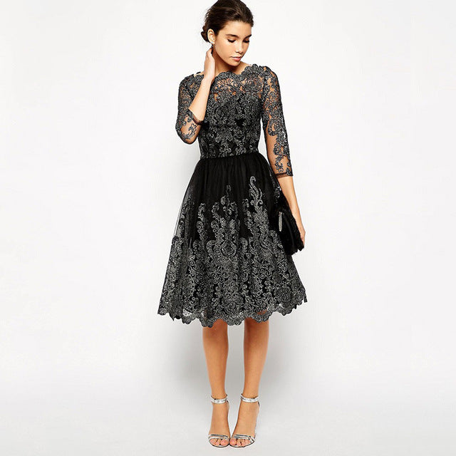 Black Prom Dress Vintage Lace Embroidery 3/4 Sleeve Mid-length Party ...