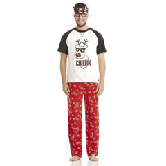Family Christmas Pajamas Winter Look Parent-child Set Christmas Deer Stitching Printed Christmas Mother Kids Father