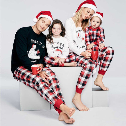 Family Christmas Bear Letter Printing Pyjamas Set Striped Pants Pajamas