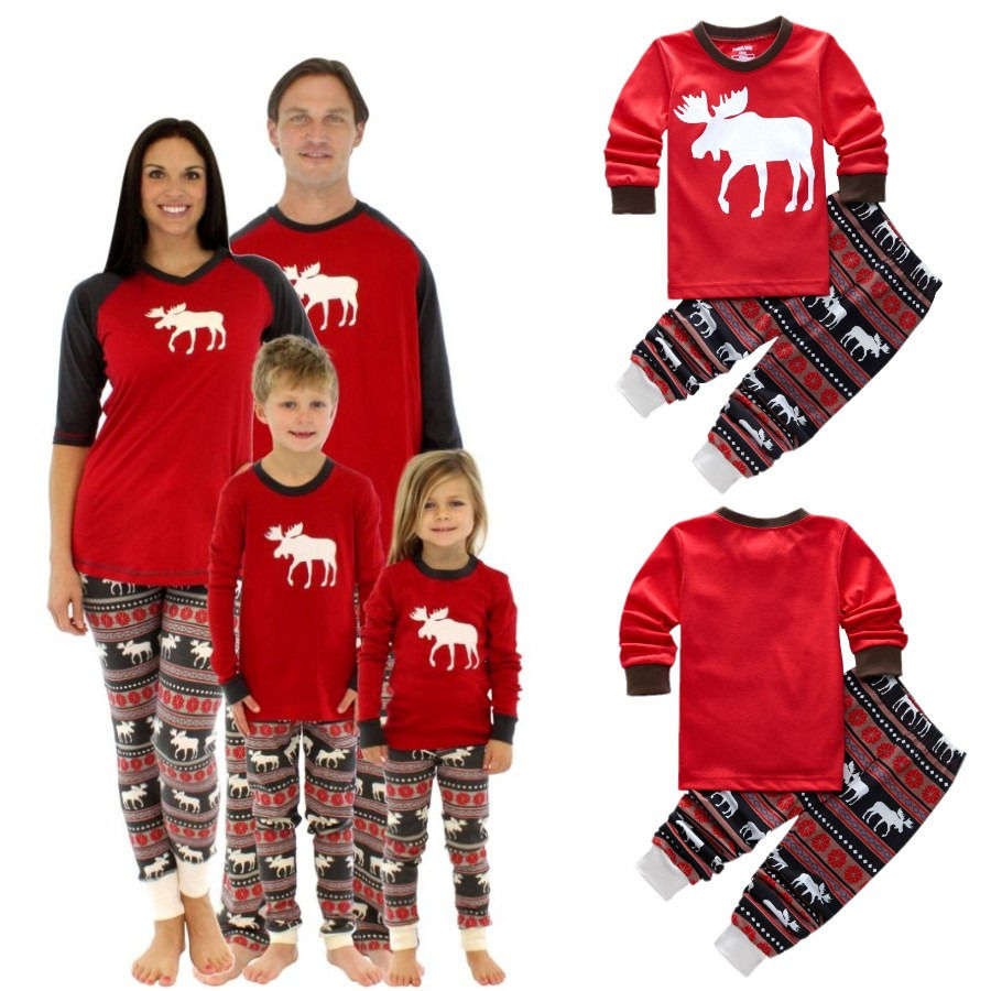 Christmas Family Pajamas Set Xmas Moose Fairy Adult Kids Sleepwear Pjs  Photgraphy Prop 2e39af375