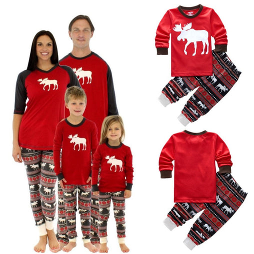 Christmas Family Pajamas Set Xmas Moose Fairy Adult Kids Sleepwear Pjs Photgraphy Prop