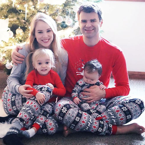 Family Matching Christmas Adult Women Men Kids Pajamas Set Winter Sleepwear