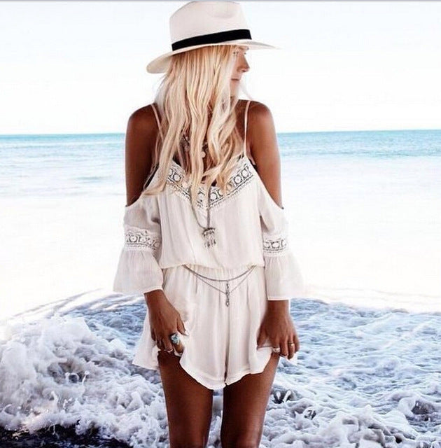 White Summer Loose Short Deep V-neck Spaghetti Strap Cold Shoulder Rompers