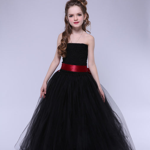 Flower Girl Dresses Black Tutu Dress Party Ball Gown Birthday Dresses Halloween Costume