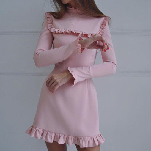 Fashion Vintage Turtleneck Long Sleeve Ruffles Party Prom Short Dress