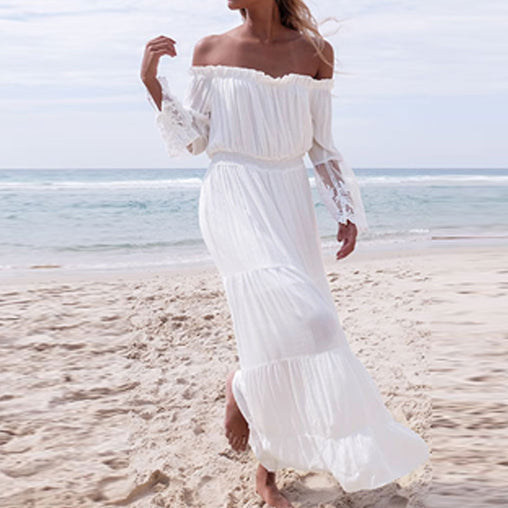 Summer White Lace Patchwork  Flare Sleeve Off Shoulder Beach Party Maxi Long Dress