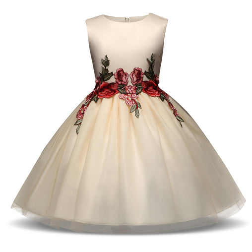 Champagne Flower Girls Dress Embroidery Sleeveless Tutu Gown Party Dresses