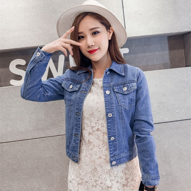 Women Spring Autumn Fashion Long Sleeve Stretch Short Denim Jeans Jackets