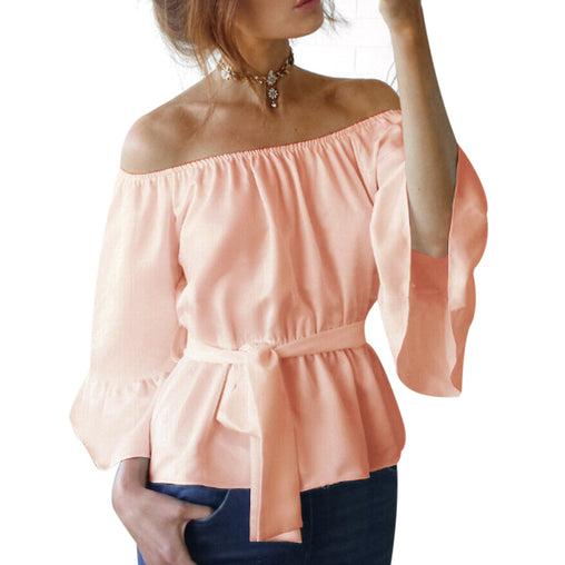 Off The Shoulder Stretch Flare Sleeve Casual Chiffon Blouse With Bow