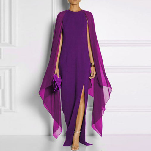 Batwing Sleeve O-Neck Chiffon Long Gown Evening Slit Maxi Cape Dress