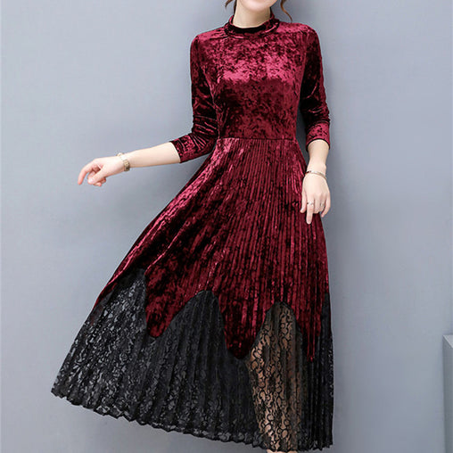 Autumn Winter Elegant Long Sleeve Vintage Pleated A-line Velvet Long Dress