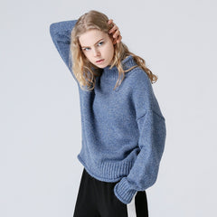 New Winter Women Jumper Turtleneck Solid Long Sleeve Knitted Pullover