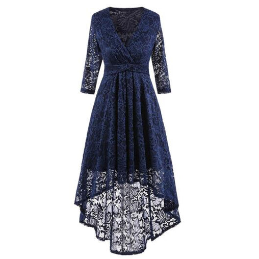 Women Wedding Party V-neck 3/4 Sleeve High Low Lace Dress