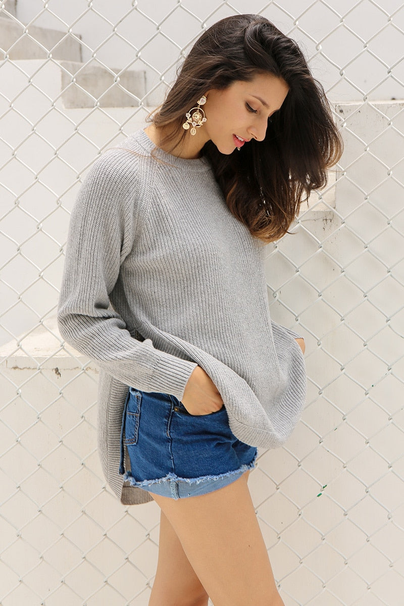 Fashion Side Split Knitting Pullover Autumn Winter Sweaters Elegant Warm Jumper