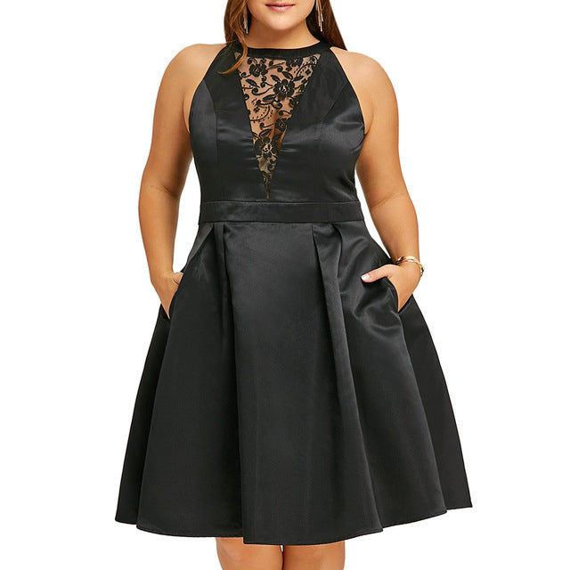 Plus Size Black Lace Insert Sleeveless Vintage Party Dress