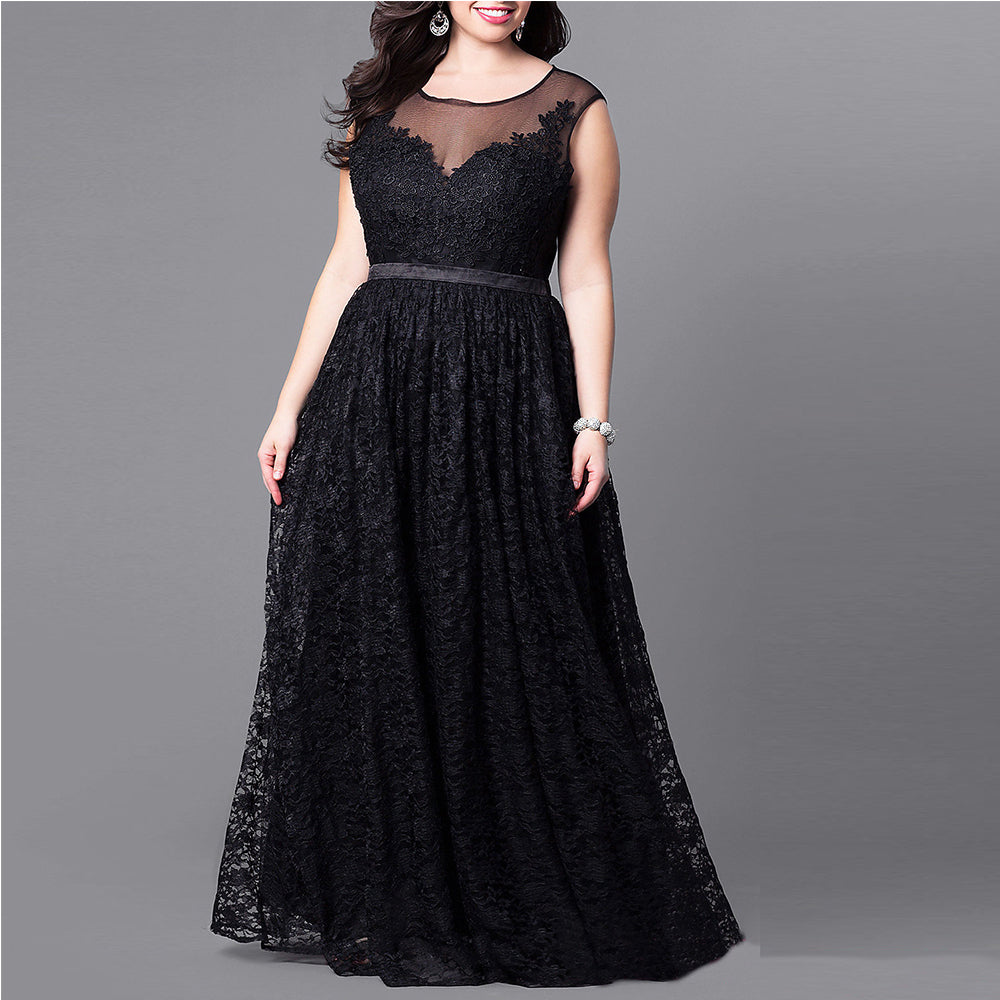 Plus Size Vintage Black Dress Sleeveless Hollow Out Long Evening Gown Lace  Maxi Dress