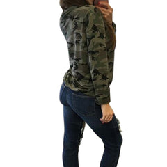 Fashion Lace-up Bandage V Neck  Long Sleeve Camouflage Blouse