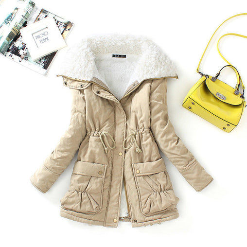 Winter Women Slim Outwear Medium-long Thick Draw Strips Warm Coats