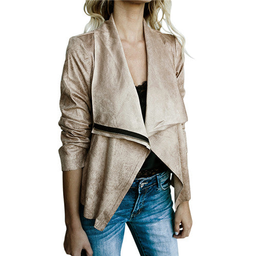 Women Zipper Basic Suede Lapel Long Sleeve Casual Leather Jackets