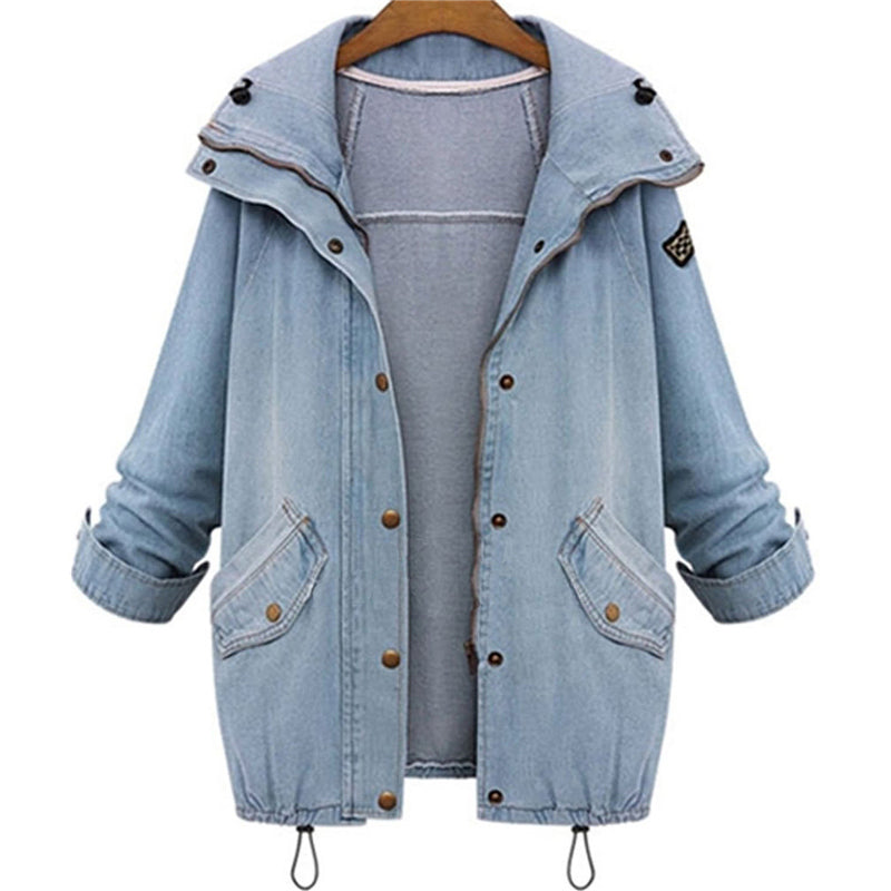 Autumn Spring Hooded Drawstring Boyfriend Trends Jean Pockets Two Piece Coats