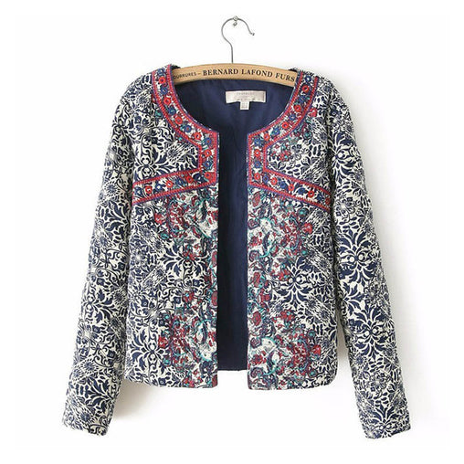 Spring Autumn Retro Printed Round Neck Full Sleeve Embroidered Jackets