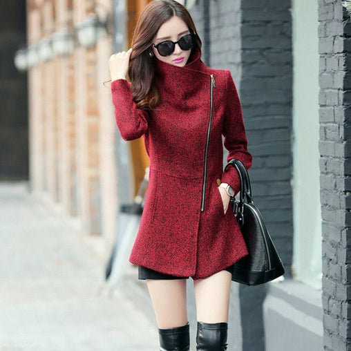 New Autumn Winter Women's Temperament Woolen Fashion Slim Jackets