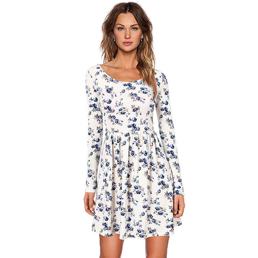 Autumn Spring Long Sleeved Print Floral Casual Dress