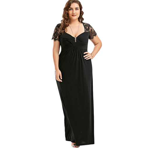 Sexy Hollow Out Plus Size Lace Dress Women High Waist Sleeveless Backless Maxi Long Dress