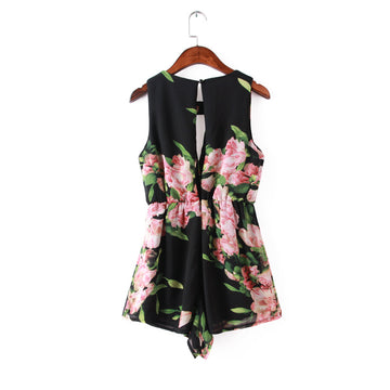 Summer Flower Print Black White Chiffon Elastic Waist Rompers