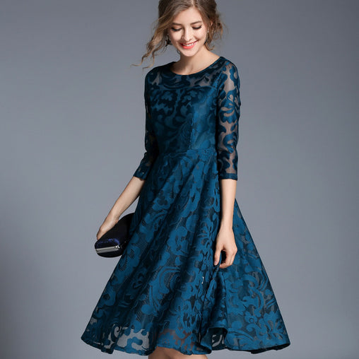 Vintage O-neck 3/4 Sleeve Hollow Out Lace A-line Midi Dress