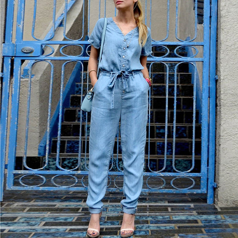 Blue V Neck Tie Waist Buttons Short Sleeve Casual Denim Jumpsuits