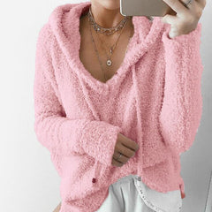 Autumn Women Mohair Sweater Hooded Pullover V Neck Sweaters