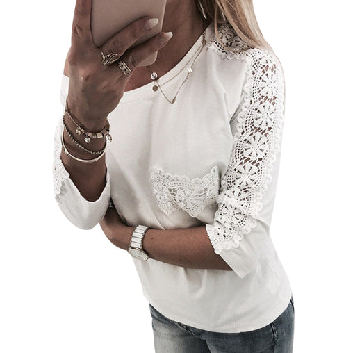 Casual Stitching Floral Lace Round Neck Three-quarter Sleeves Blouse With Pocket