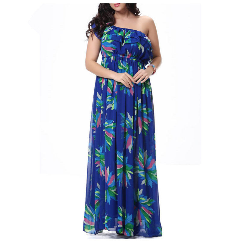 Plus Size Summer Chiffon Dresses 2019 Floral Print Bohemian Beach Maxi Long  Dress