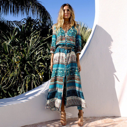 Casual V-neck Half Sleeve Floral Print Long Boho Beach Maxi Summer Dress