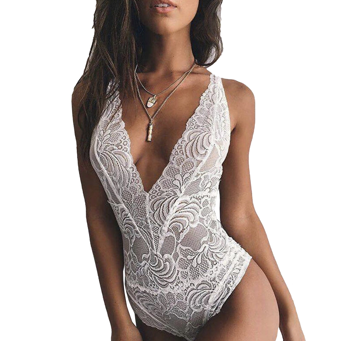 Black White Deep V Women Summer Backless Lace Bodysuit