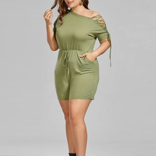 Green One Shoulder Bandage Summer Plus Size Rompers