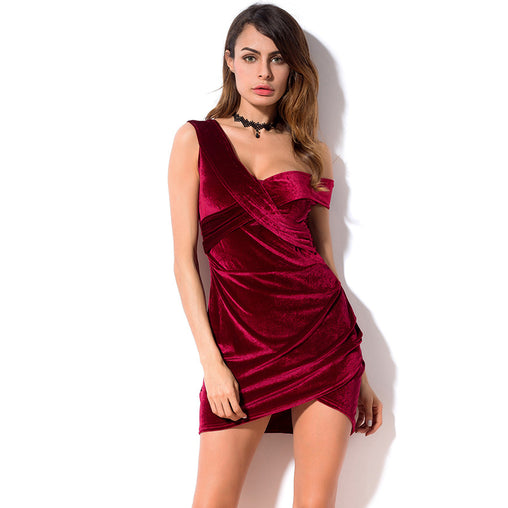 Women Velvet Party Off Shoulder Short Mini Dress