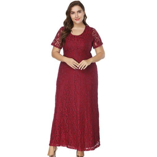Plus Size Summer Dress Women Short Sleeve Maxi Long Lace Dress