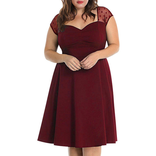 Women's Elegant Short Sleeve Vintage 50s Cocktail Party Plus Size A Line Dress