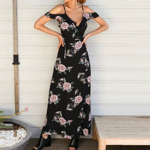 Cold shoulder Strap Flower Print Long Dress V neck Split Backless Maxi Summer Chiffon Dress