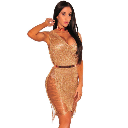 Sexy Beach Hollow Out Bodycon Party Club Knitted Dress