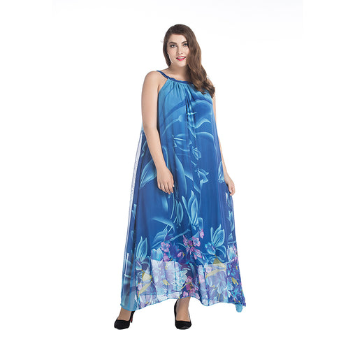 Plus Size Bohemian Summer Dress Slash Neck Halter Chiffon Long Print Floral Maxi Dress