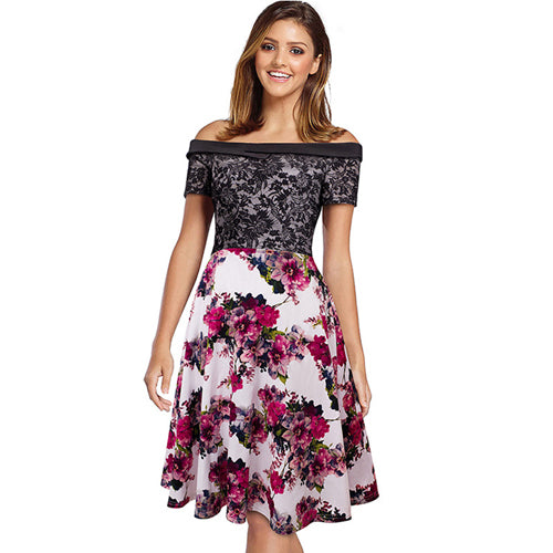 Summer Off Shoulder Lace Patchwork Floral Print A Line Vintage Retro Rockabilly Midi dress