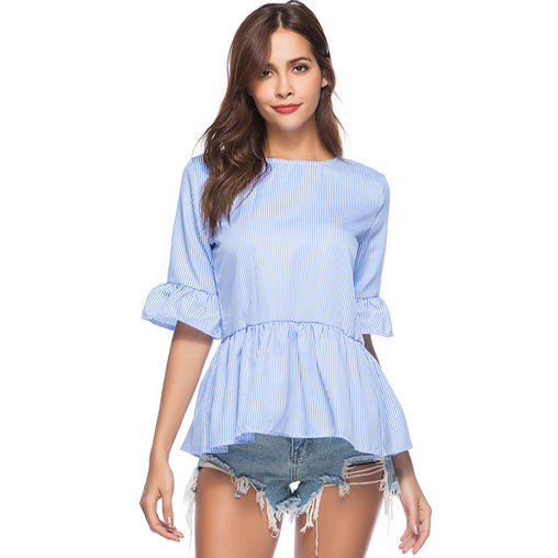 Summer Blue And White Striped Ruffled Half Sleeve Causal Blouse