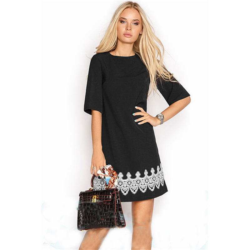 Lace Patchwork Casual Dress Black White Half Sleeve T Shirt Short