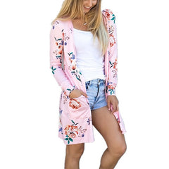 Autumn Spring Woman Cute Floral Print Basic Cardigan Open Stitch Coat