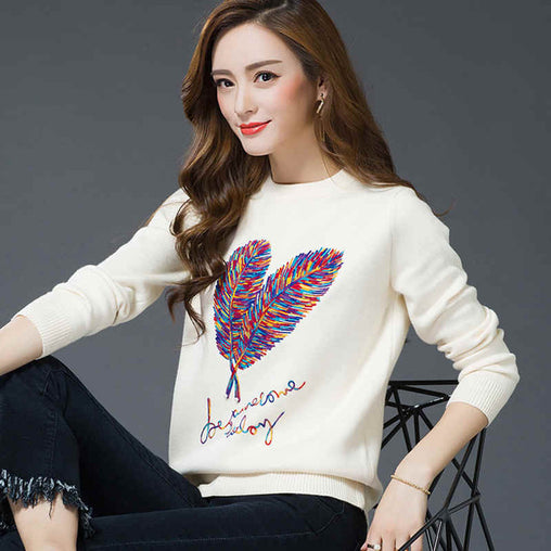 2018 Women Autumn Winter  Fashion Pullovers Casual Feather Embroidery Knitted Sweaters