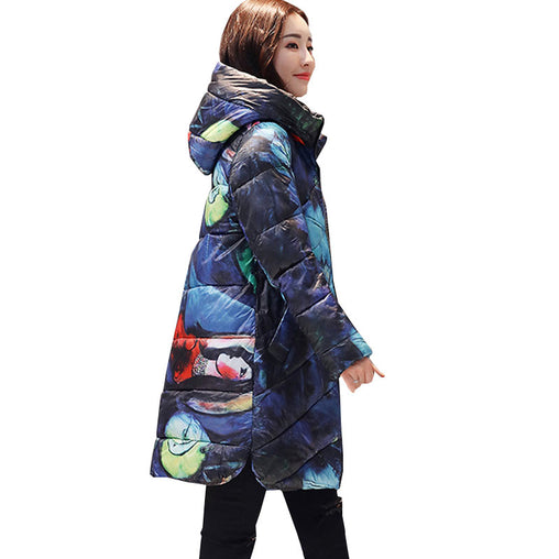 Plus Size Woman Hooded Printed Thicker Winter Down Cotton Long Coats
