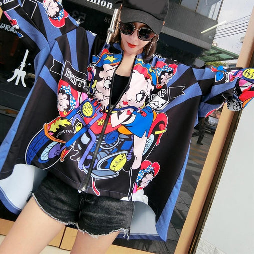 Autumn Fashion Women Print Irregular Street Jackets